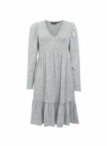 Womens Grey V-Neck Tiered Smock Dress, Grey