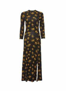 Womens Tall Black And Yellow Floral Print Dress - Fl Multi, Fl Multi