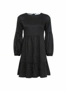 Womens Petite Black Spot Print Smock Dress, Black