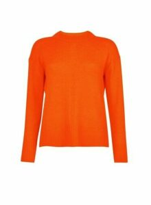 Womens Orange Spandex Step Hem Jumper, Orange