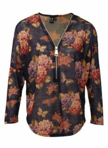 Womens *Izabel London Multi Colour Floral Print Knitted Pullover Top- Blue, Blue