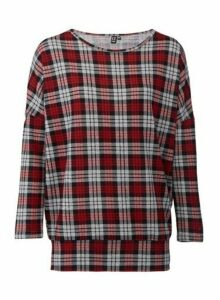 Womens Izabel London Red Checked Print Top, Red