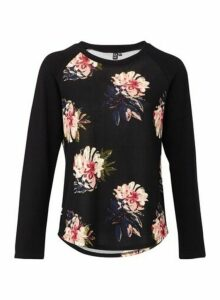 Womens *Izabel London Multi Colour Floral Print Top- Black, Black