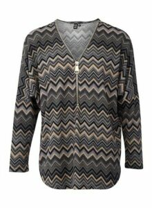 Womens *Izabel London Multi Colour Zig Zag Slouchy Knitted Top- Grey, Grey