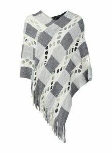 Womens Izabel London Multi Colour Checked Knit Poncho - Cream, Cream