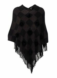 Womens *Izabel London Multi Colour Checked Pom Pom Poncho- Grey, Grey