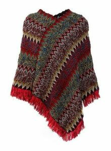 Womens *Izabel London Multi Colour Chevron Knitted Poncho- Red, Red