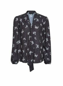 Womens Black Butterfly Print Tie Neck Blouse, Black