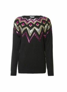 Womens **Tall Black Fairisle Jumper, Black