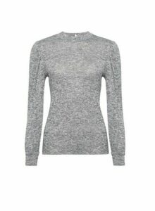 Womens Grey Puff Sleeve Jumper, Grey