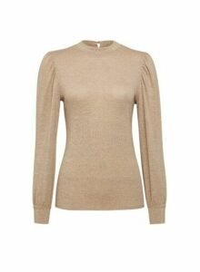 Womens Camel Puff Sleeve Jumper- White, White