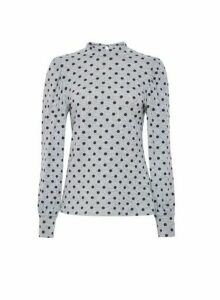 Womens Grey Spot Print Puff Sleeve Jumper, Grey