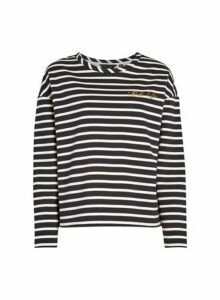 Womens Black Stripe Print Organic Cotton Blend 'Best Life' Sweatshirt, Black