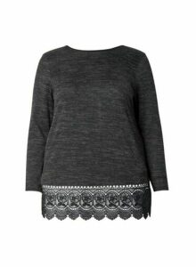 Womens **Dp Curve Charcoal Lace Hem Top- Grey, Grey