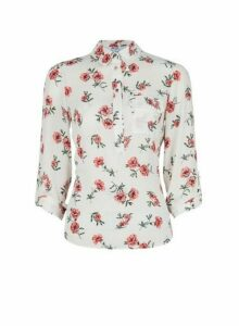 Womens Petite Multi Colour Floral Print Roll Sleeve Shirt - Pink, Pink