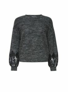 Womens Petite Grey Lace Sleeve Jumper, Grey