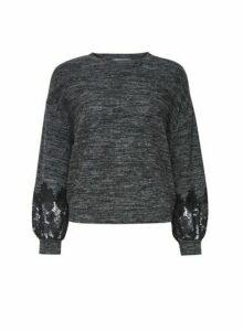 Womens Petite Grey Lace Sleeve Jumper, Grey