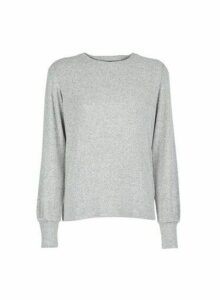 Womens Grey Ribbed Puff Sleeve Top, Grey