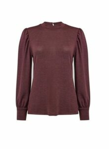 Womens Red Brushed Puff Sleeve Top, Red