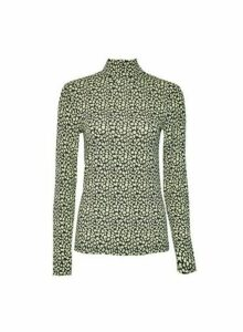 Womens Lime Spot Print High Neck Top- Green, Green