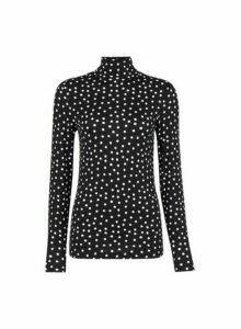 Womens Black Polka Dot Print High Neck Top, Black