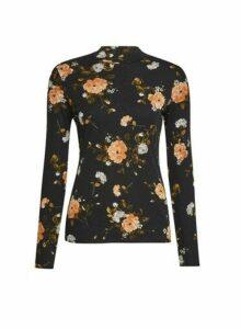 Womens Multi Colour Floral Print Mesh High Neck Top- Black, Black