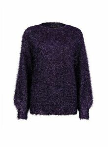 Womens Purple Eyelash Tinsel Jumper, Purple