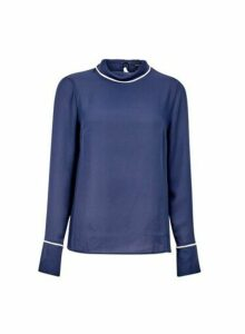 Womens Navy Fold Neck Top- Blue, Blue