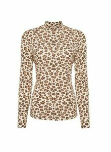 Womens **Vila Multi Colour Leopard Print Long Sleeve Top, Leopard