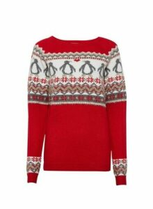 Womens **Tall Red Penguin Fairisle Jumper, Red