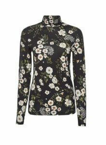 Womens Multi Colour Floral Print High Neck Top- Black, Black
