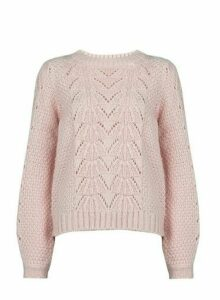 Womens Blush Pink Pointelle Stitch Jumper, Pink