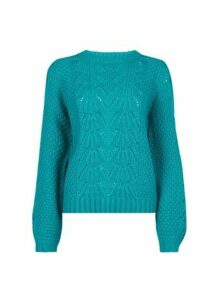 Womens Jade Blue Pointelle Stitch Jumper- Green, Green