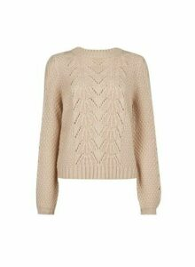 Womens Stone Pointelle Stitch Jumper - Camel, Camel