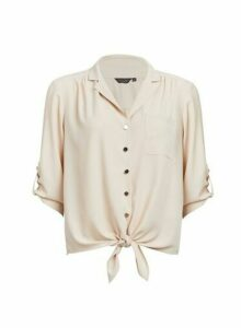 Womens Blush Tie Hem Shirt- Pink, Pink
