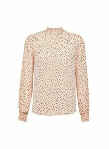 Womens Blush Spot Print Shirred Neck Top- Pink, Pink