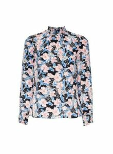 Womens Petite Multi Colour Floral Print Shirred Neck Top, Multi Colour