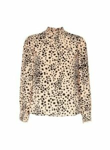 Womens Petite Camel Spot Print Shirred Neck Top- Beige, Beige