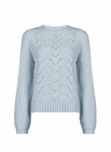 Womens Pale Blue Pointelle Stitch Jumper, Blue