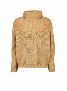 Womens Camel Chunky Batwing Sleeve Roll Neck Jumper, Camel