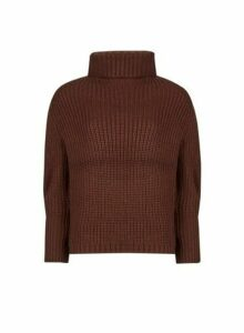 Womens Brown Chunky Batwing Sleeve Roll Neck Jumper, Brown