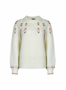 Womens Ivory Floral Embroidery Jumper, Ivory