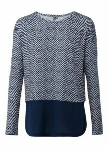 Womens Izabel London Blue Chevron Print Contrast Jumper, Blue
