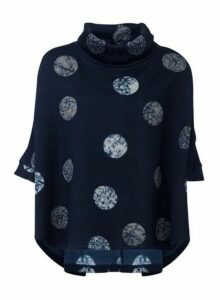 Womens Izabel London Navy Circle Print Jumper - Blue, Blue