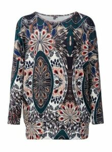Womens *Izabel London Multi Colour Peacock Print Jumper- Green, Green