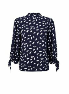 Womens Navy Brush Stroke Print Tie Sleeve Top- Blue, Blue