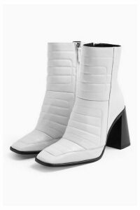 Womens Millenial White Leather Boots - White, White