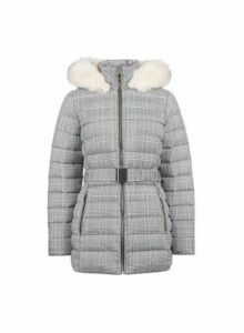 Womens Grey Check Print Short Belted Padded Coat, Grey