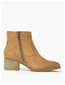 M&S Collection Leather Block Heel Ankle Boots