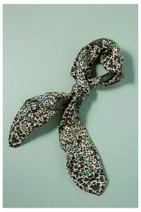 Marrie Mixed-Print Silk Scarf - Green